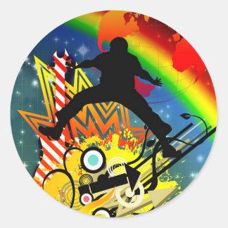 Music colorful illustration classic round sticker