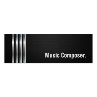 Music Composer - Black Silver Stripes Double-Sided Mini Business Cards (Pack Of 20)