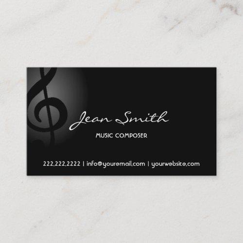Music Composer Elegant Dark Clef Business Card