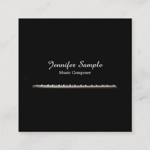 Music Composer Teacher Elegant Plain Silk Luxury Square Business Card