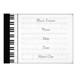 Music Concert Admission Ticket With Piano Keyboard Theme