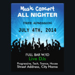 """Music Concert All Nighter Music Flyer<br><div class=""""desc"""">Create your own concert music event or music gig flyer by editing the text on both sides of this flyer with a large crowd of music fans! Change the font style, font colors and sizes with the editor! Add or delete text, add directions or any information you want! Perfect for...</div>"""