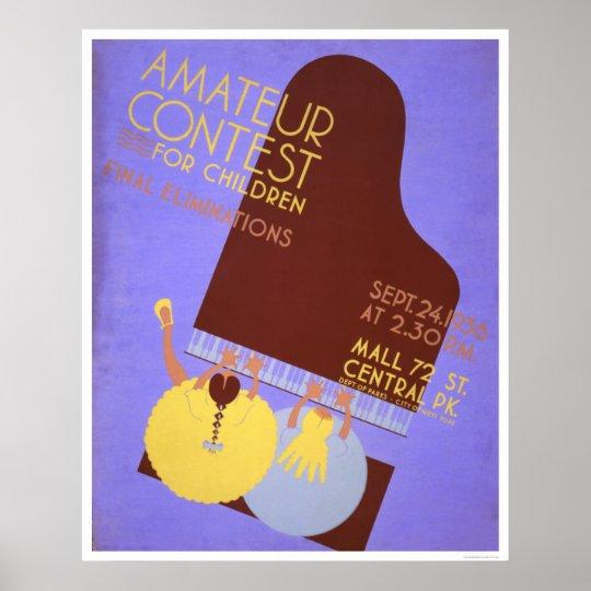 Music Contest Children 1936 WPA Poster