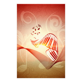 Music, curved piano keyboard with key notes custom stationery