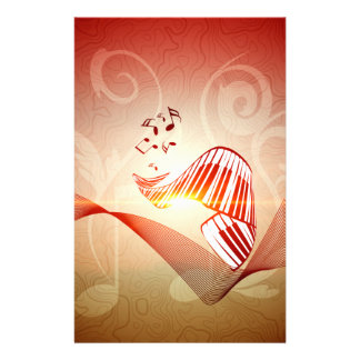 Music, curved piano keyboard with key notes customized stationery