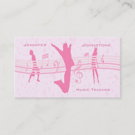 Music Dance and Drama Pink Advertising Business Card