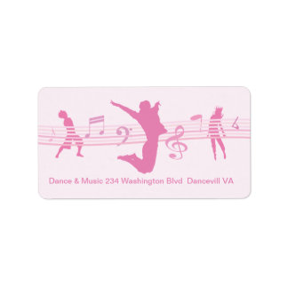 Music Dance and Drama pink Personalized Address Label