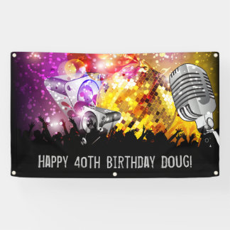 Music Dance Party Personalized Birthday Banner