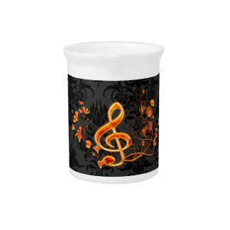 Music, decorative clef with flowers drink pitcher