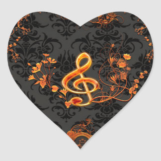 Music, decorative clef with flowers heart sticker
