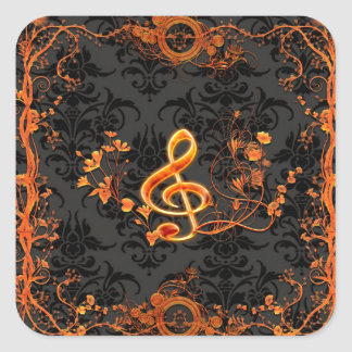 Music, decorative clef with flowers square sticker