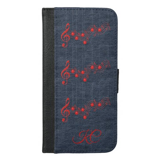 Music, Denim and Red Lace  iPhone 6/6s Plus Wallet Case