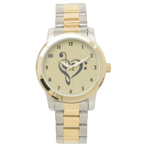 Music Design Heart Wrist Watch