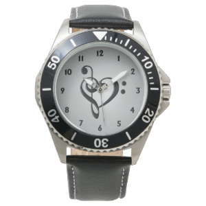 Music Design Heart Wrist Watches
