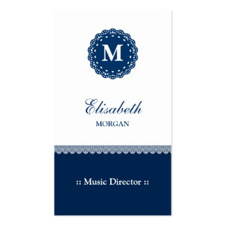 Music Director - Elegant Blue Lace Monogram Double-Sided Standard Business Cards (Pack Of 100)