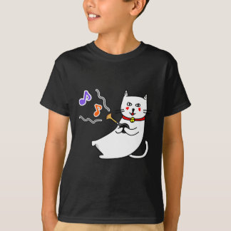 Music distantly the cat senior series of the white T-Shirt