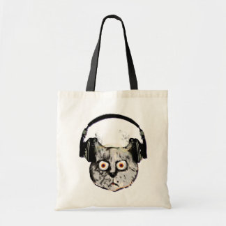 music dj cat with headphone tote bag