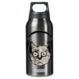 music dj cat with headphone insulated water bottle