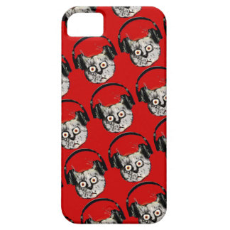 music dj cat with headphone iPhone SE/5/5s case
