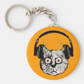 music dj cat with headphone key chain