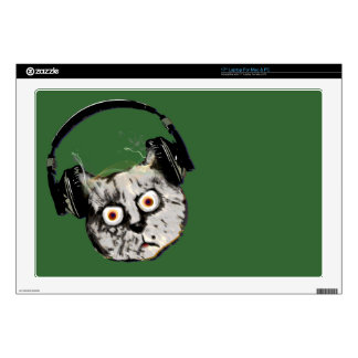 music dj cat with headphone laptop decals