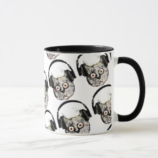 music dj cat with headphone mug