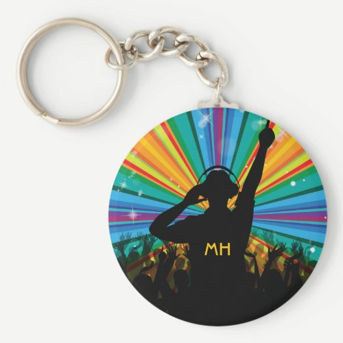 Music DJ custom monogram key chains