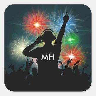 Music DJ custom monogram stickers