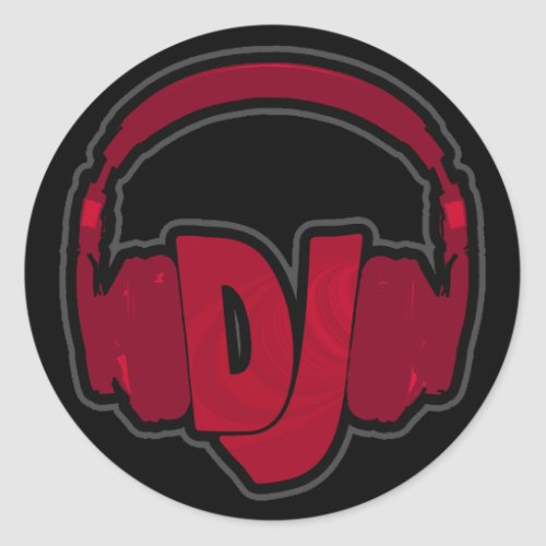 music DJ headphone Classic Round Sticker