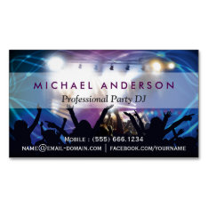 Music Dj Party Concert Planner - Modern Stylish Magnetic Business Card at Zazzle