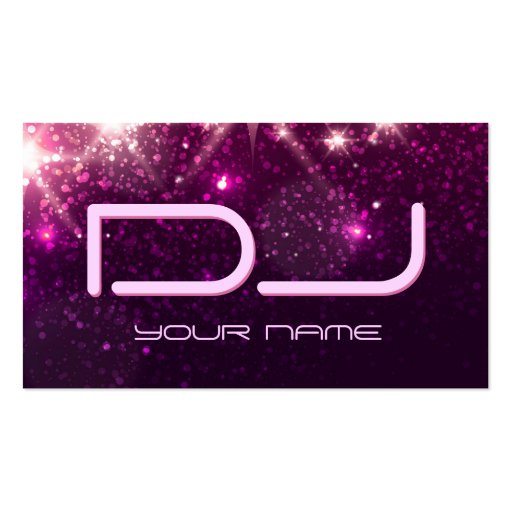 Music DJ - Shiny Pink Glitter Business Card