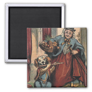 Music Dog playing flute and old lady Magnet