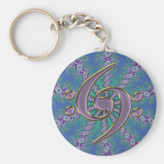 Music Double Bass Clef on Blue Fractal Keychain