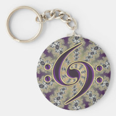 Music Double Bass Clef On Gold Fractal Keychain at Zazzle