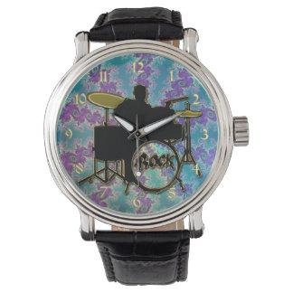 Music Drummer and Blue Green Fractal Star Watch