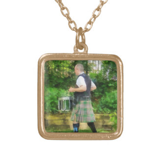 Music - Drummer in Pipe Band Gold Plated Necklace