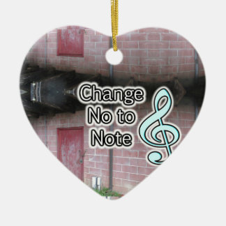 Music Education Help Change No to Note Slogan Ceramic Ornament