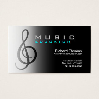Music Educator Business Card Chrome