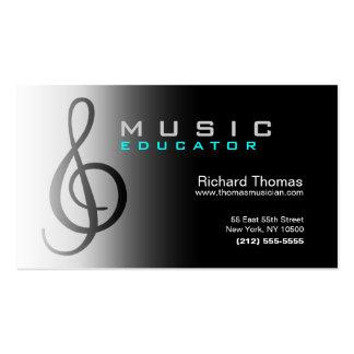 Music Educator Business Card Chrome
