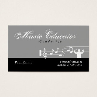 Music Educator Conductor Business Card Gray