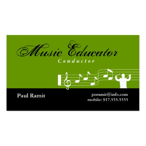Music Educator Conductor Business Card Green