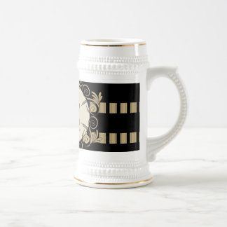 Music, elegant stripes as background with key note coffee mugs