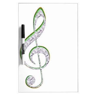 MUSIC Emerald and Diamond Treble Clef Dry Erase White Board