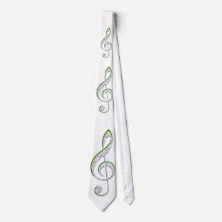 MUSIC Emerald and Diamond Treble Clef Neck Tie
