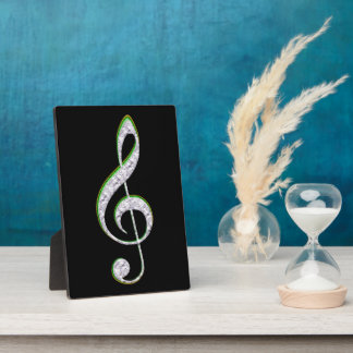 MUSIC Emerald and Diamond Treble Clef Plaque