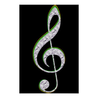 MUSIC Emerald and Diamond Treble Clef Poster