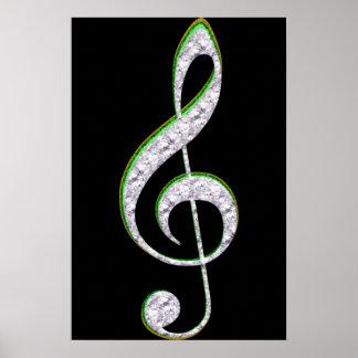 MUSIC Emerald and Diamond Treble Clef Print
