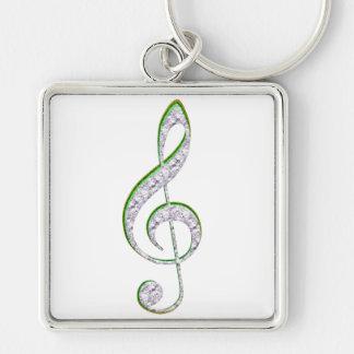 MUSIC Emerald and Diamond Treble Clef Silver-Colored Square Keychain