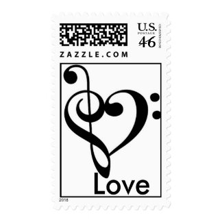 Music Equals Love Postage Stamps