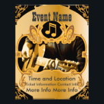 """Music Event Vintage Gold Flyer<br><div class=""""desc"""">Create your own music event or band gig flyer by editing the text on both sides of this gold with golden scrolls and dark background event flyer! Change the font style, font colors and sizes with the editor! Add or delete text, add directions or any information you want! Add the...</div>"""